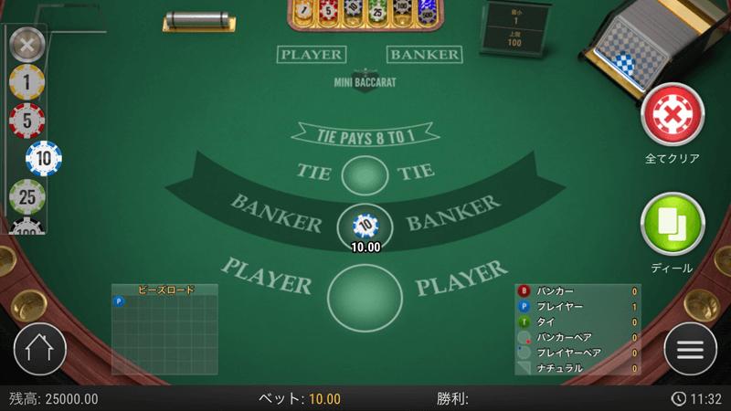 バカラでBANKERが勝つ方に賭ける場面