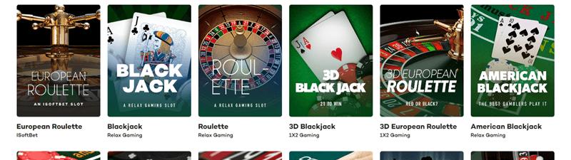 21.comのテーブルゲーム