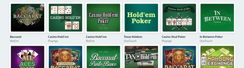 シンプルカジノのテーブルゲーム