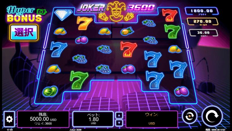 ジョーカー3600のゲーム画面
