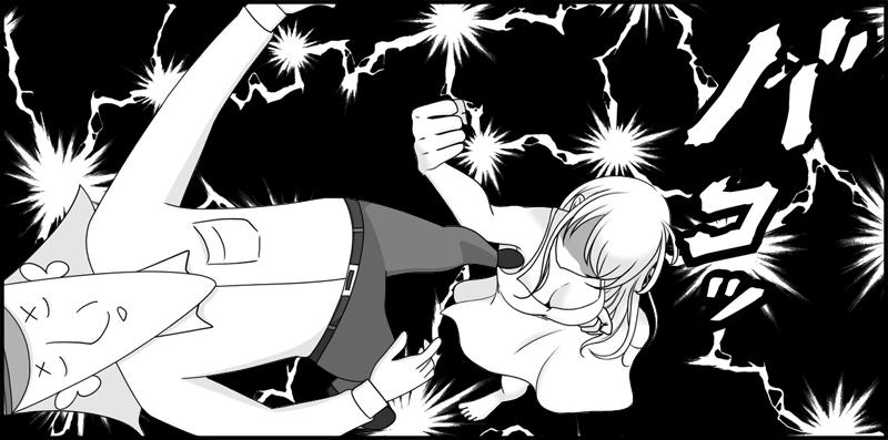 ストレートアップベでノックアウトする鈴木二等兵のマンガ